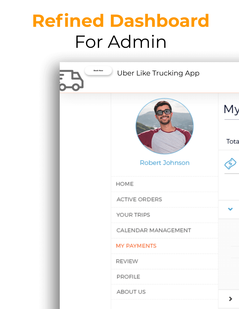 Screenshot of Admin Pannel in On-Demand Trucking app like Uber