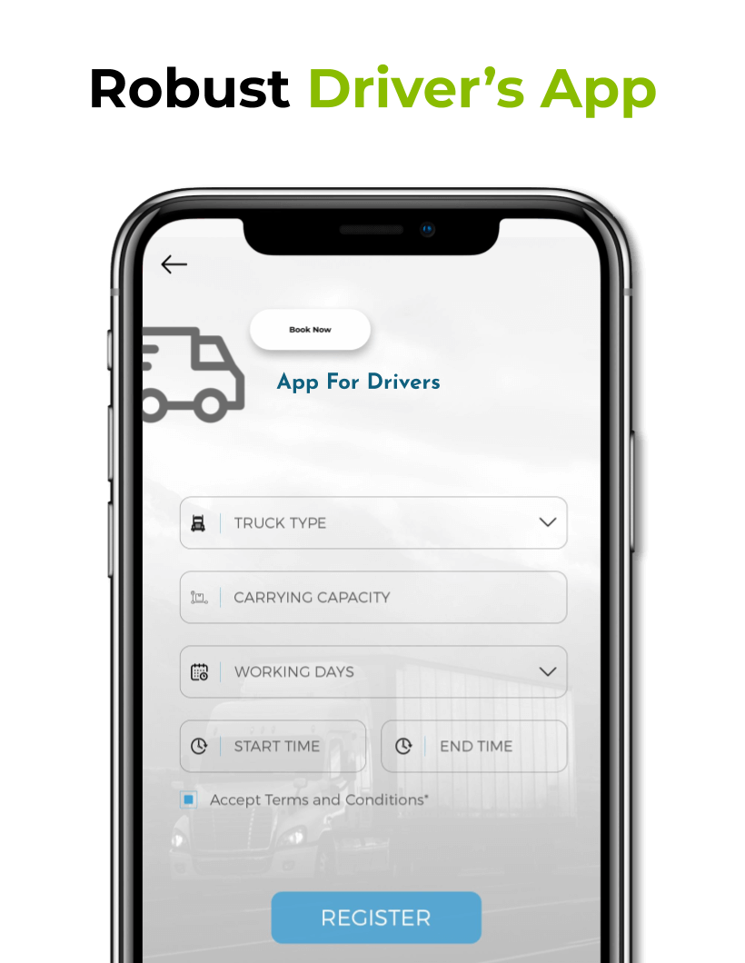 ScreenShot of Registration Screen for Drivers in Our On Demand Trucking App