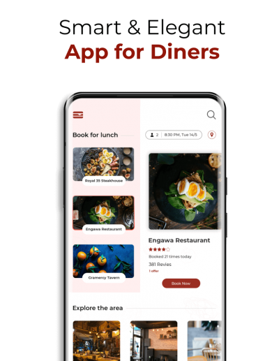 Home Page of Opentable similar app for diners