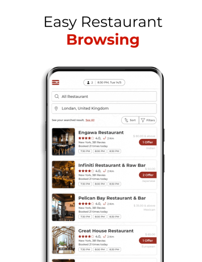 Restaurant browsing in app for diners
