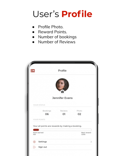 Users profile in the Diners app