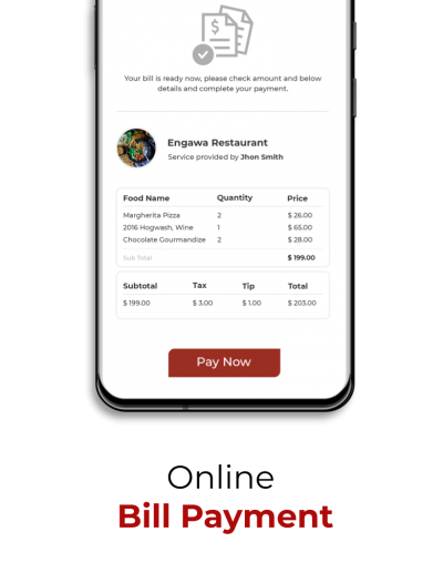 Online Bill payment features for the diners