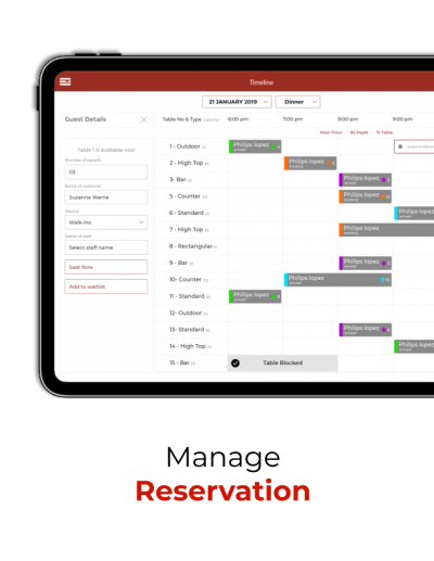 Restaurant can manage reservations form the iPad App