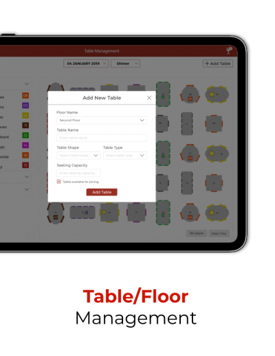 Restaurant can manage Floor and Table form the app